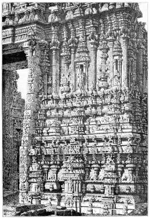restored: Victorian engraving of a  temple detail, Tirupati, India. Digitally restored image from a mid-19th century Encyclopaedia. Stock Photo
