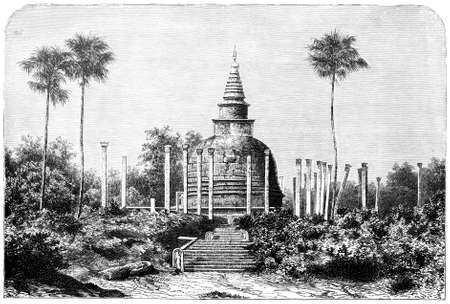 Victorian engraving of Thuparamaya, Sri Lanka. Digitally restored image from a mid-19th century Encyclopaedia. Stock fotó