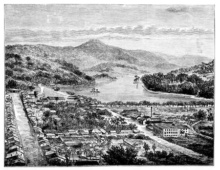 restored: Victorian engraving of Kandy, Sri Lanka. Digitally restored image from a mid-19th century Encyclopaedia.