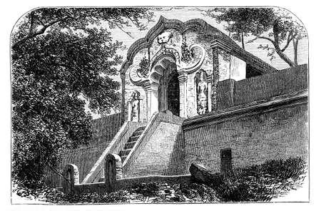 Victoriaanse gravure van een tempel ingang, Anuradhapura, Sri Lanka. Digitaal hersteld beeld van een midden van de 19e eeuw Encyclopedie. Stockfoto