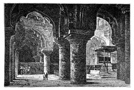 restored: Victorian engraving of Thirumalai Nayak Palace, Madurai, India. Digitally restored image from a mid-19th century Encyclopaedia.