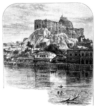restored: Victorian engraving of a  Tiruchirappalli, India. Digitally restored image from a mid-19th century Encyclopaedia.