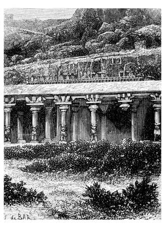 mahabalipuram: Victorian engraving of a   temple at Mahabalipuram, India. Digitally restored image from a mid-19th century Encyclopaedia.