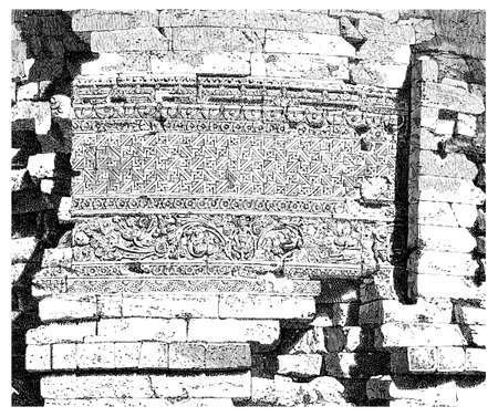 sarnath: Victorian engraving of a  detail at Dhamekh Stupa, Sarnath. Digitally restored image from a mid-19th century Encyclopaedia.
