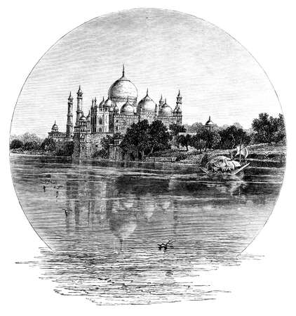 taj: Victorian engraving of a  view of Taj Mahal, India. Digitally restored image from a mid-19th century Encyclopaedia.