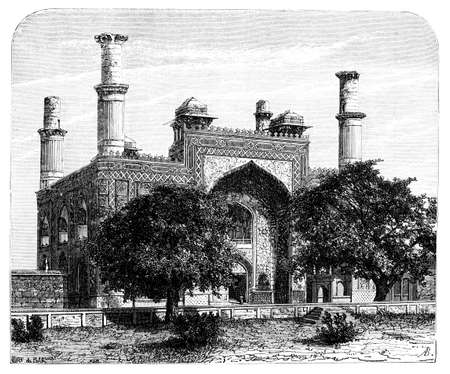 Victorian engraving of Sikander Bagh, Lucknow, India. Digitally restored image from a mid-19th century Encyclopaedia.