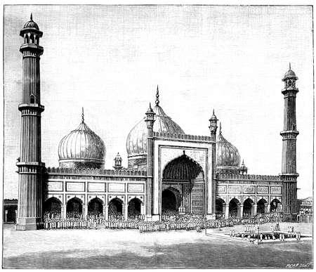 masjid: Victorian engraving of the Jasma Masjid, Delhi, India. Digitally restored image from a mid-19th century Encyclopaedia.