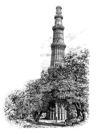 빅토리아 조각 Qutb Minar, 델리, 인도. 19 세기 중반 백과 사전에서 디지털 복원 된 이미지.