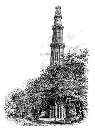 Victorian engraving of the Qutb Minar, Delhi, India. Digitally restored image from a mid-19th century Encyclopaedia.