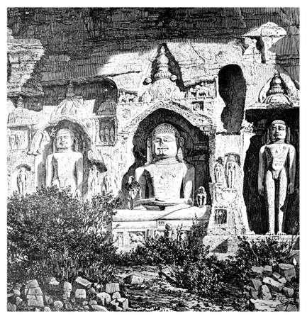 jain: Victorian engraving of Jain satues, Gwalior, India. Digitally restored image from a mid-19th century Encyclopaedia.