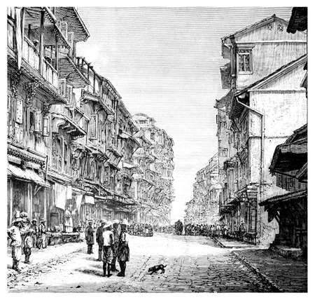 restored: Victorian engraving of a  street scene in Mumbai, India. Digitally restored image from a mid-19th century Encyclopaedia.