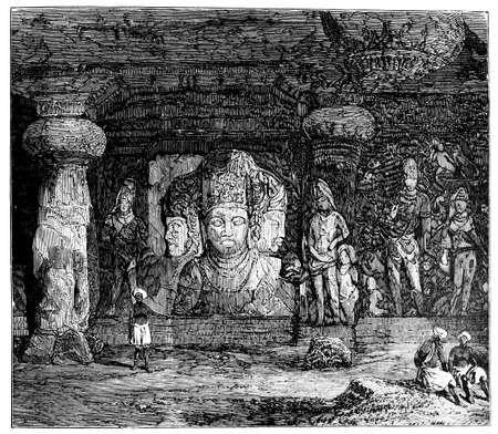 Victoriaanse graveren van Elephanta Caves, Mumbai, India. Digitaal hersteld beeld van een midden van de 19e eeuw Encyclopedie.