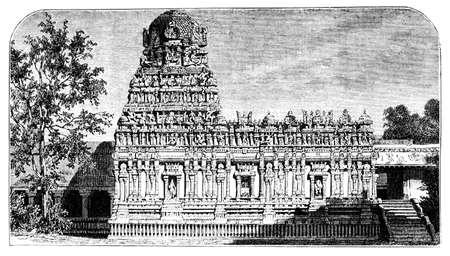 restored: Victorian engraving of Brihadeeswara Temple, Thanjavur, India. Digitally restored image from a mid-19th century Encyclopaedia.
