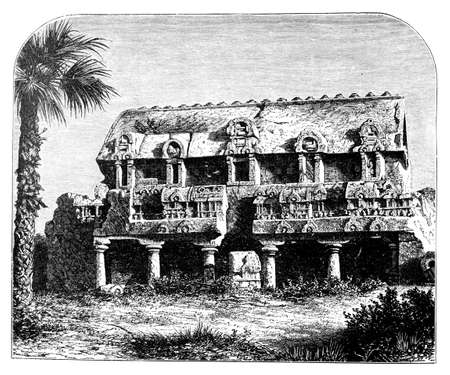 restored: Victorian engraving of a   temple at Mahabalipuram, India. Digitally restored image from a mid-19th century Encyclopaedia.