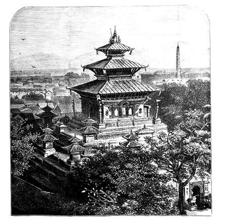 restored: Victorian engraving of a view of Kathmandu, Nepal. Digitally restored image from a mid-19th century Encyclopaedia. Stock Photo