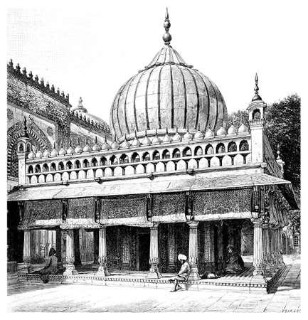 화려한 무덤, 인도 델리의 빅토리아 조각. 19 세기 중반 백과 사전에서 디지털 복원 된 이미지.