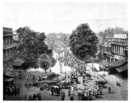 busy street: Victorian engraving of a  busy street in Delhi, India. Digitally restored image from a mid-19th century Encyclopaedia. Stock Photo