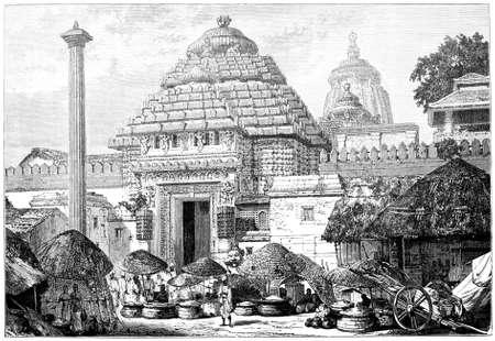 Victoriaanse gravure van een tempel ingang, India. Digitaal hersteld beeld van een midden van de 19e eeuw Encyclopedie.