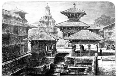 Victorian engraving of a temple in Nepal. Digitally restored image from a mid-19th century Encyclopaedia. Фото со стока - 42499332