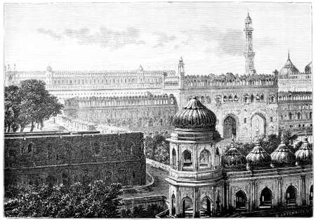 restored: Victorian engraving of a  view of Lucknow, India. Digitally restored image from a mid-19th century Encyclopaedia. Stock Photo