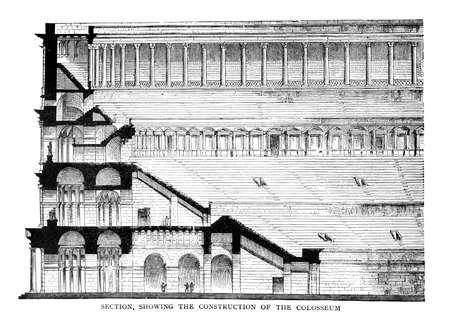 콜로세움, 로마의 도면의 빅토리아 조각. 디지털 19 세기 중반의 백과 사전에서 이미지를 복원.