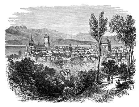 19th: 19th century engraving of Lausanne, Switzerland