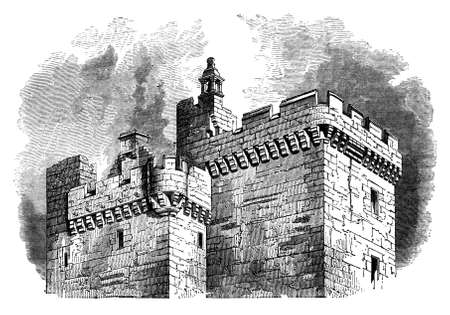 fortification: 19th century engraving of Clackmannan Tower, Scotland