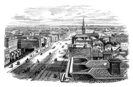 melbourne: 19th century engraving of Melbourne, Australia Stock Photo