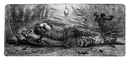 19th century engraving of a man holing coal