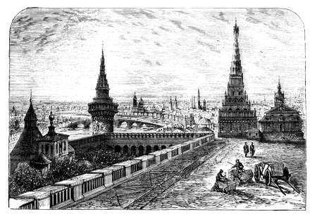 moscow russia: 19th century engraving of Moscow, Russia