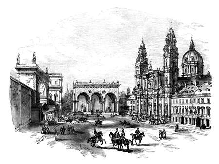 19th century engraving of the Royal Palace, Munich, Germany