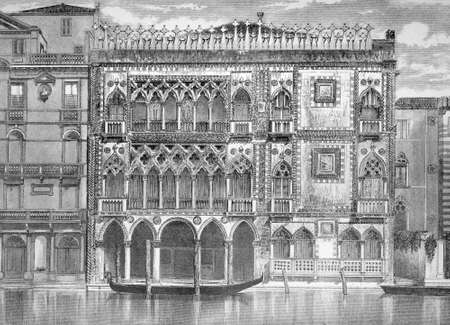 venice: 19th century engraving of the Grand Canal, Venice