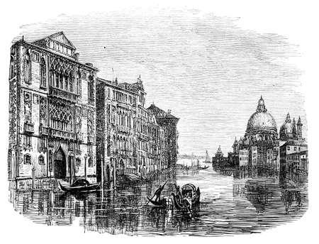 大運河、ヴェネツィアの 19 世紀の彫刻