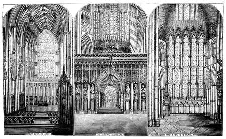 19th century engraving of the interior of Yorkminster