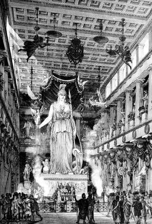 athens: Victorian engraving of the ancient interior of the Parthenon, Athens. Digitally restored image from a mid-19th century Encyclopaedia. Stock Photo