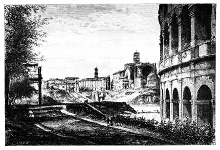 titled: 19th century engraving looking across the Forum, Rome, Italy, photographed from a book  titled