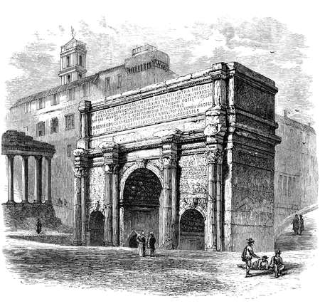 19th century engraving of the Arch of Septimus Severus, Rome, Italy, photographed from a book  titled