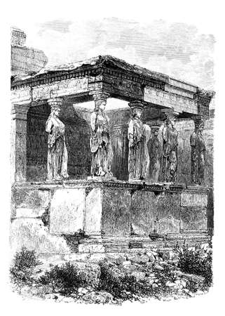 restored: Victorian engraving of the Erechtheion, Athens. Digitally restored image from a mid-19th century Encyclopaedia.