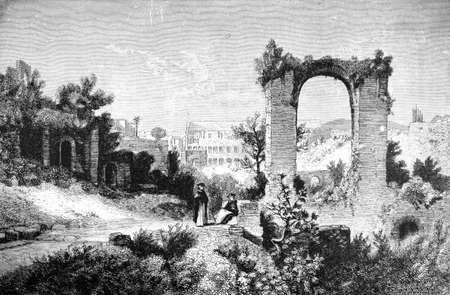 19th century engraving of ruins at Palatine, Rome, Italy, photographed from a book  titled Stok Fotoğraf
