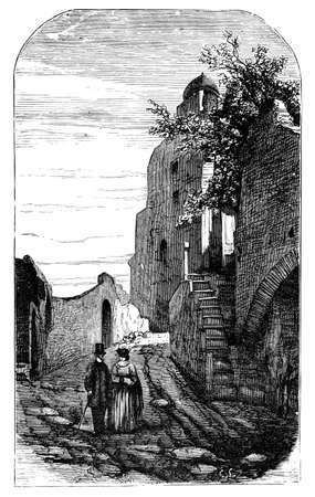 palatine: 19th century engraving of a scene on the Palatine, Rome, Italy, photographed from a book  titled Stock Photo