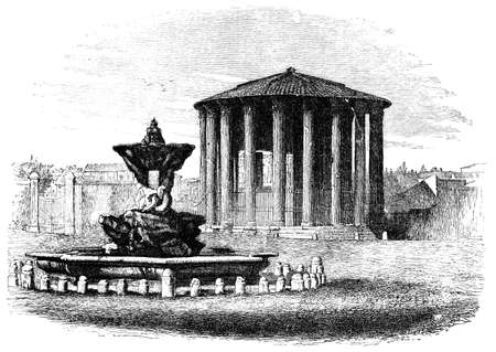 titled: 19th century engraving of the Temple of Vesta, Rome, Italy, photographed from a book  titled