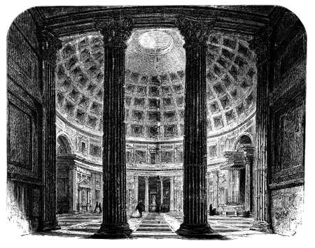 roman pillar: 19th century engraving of the interior of the Pantheon, Rome, Italy, photographed from a book  titled
