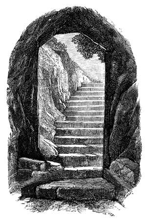 19th century engraving of the entrance to the Catacombs, Rome, Italy, photographed from a book  titled Stok Fotoğraf