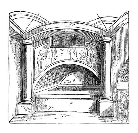 titled: 19th century engraving of an empty catacomb, Rome, Italy, photographed from a book  titled
