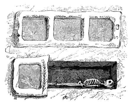 19th century engraving of a catacomb grave, Rome, Italy, photographed from a book  titled Stok Fotoğraf