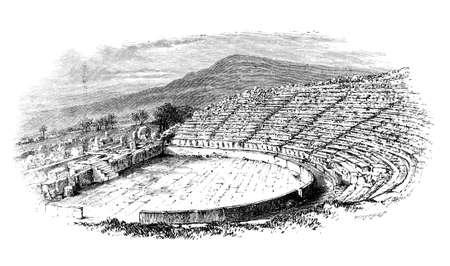 Grabado victoriana de un antiguo teatro griego. Imagen digitalmente restaurada de una enciclopedia mediados del siglo 19. Foto de archivo - 42499397
