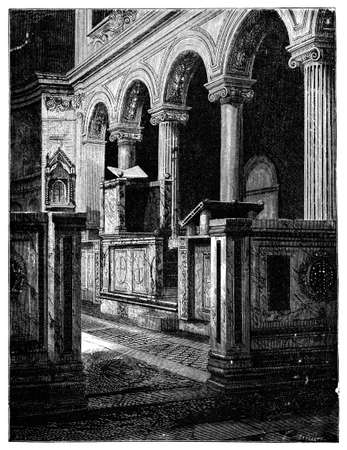 basilica: 19th century engraving of the Basilica San Clemente, Rome, Italy, photographed from a book  titled