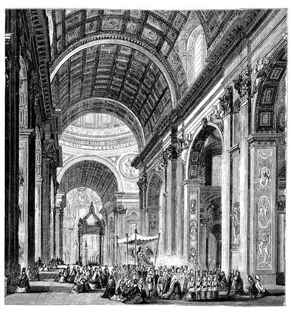 basilica: 19th century engraving of a procession at St. Peters Basilica, Rome