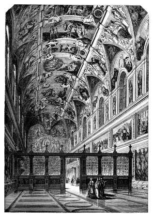 19th century engraving of the Sistine Chapel, photographed from a book  titled
