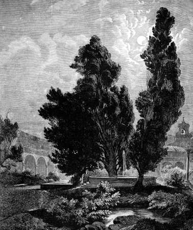 abbey: 19th century engraving of a convent cloisters, Rome, Italy, photographed from a book  titled